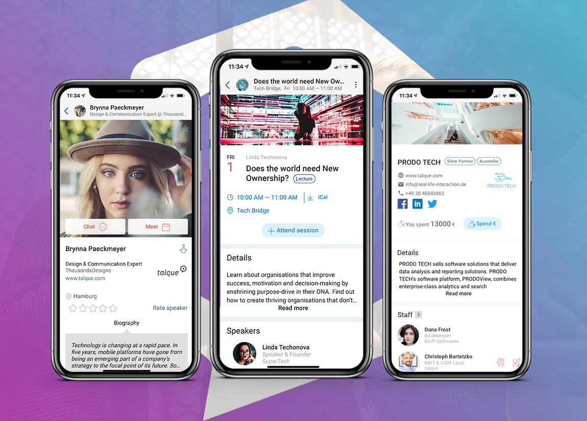 The festival hub is a web and mobile app that allows you to build your own profile, check the agenda and connect to audience members.
